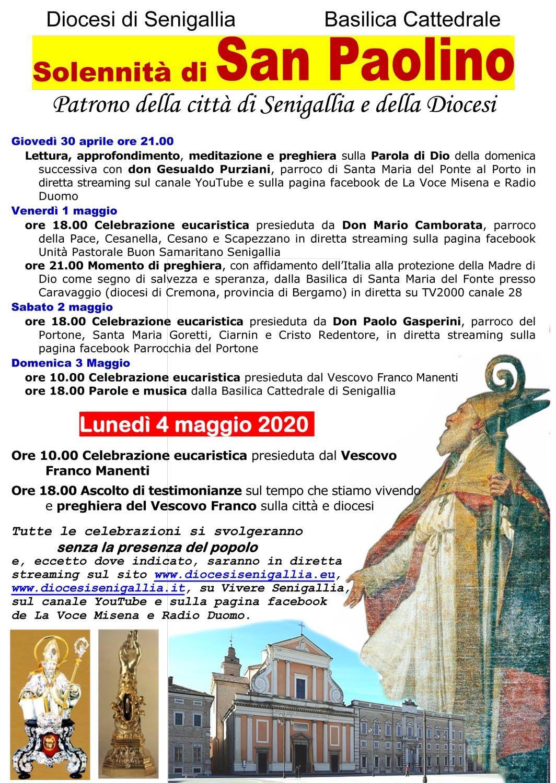 Festa di San Paolino, Patrono della città e della Diocesi di Senigallia – 4 maggio 2020