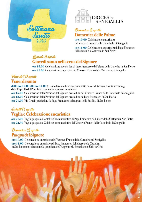 Calendario delle celebrazioni di Papa Francesco e del Vescovo Franco nella Settimana Santa  2020 e dirette streaming