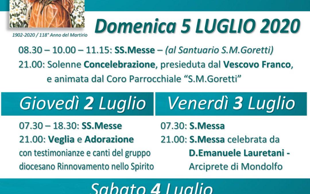 Festa di Santa Maria Goretti – 2-6 luglio 2020