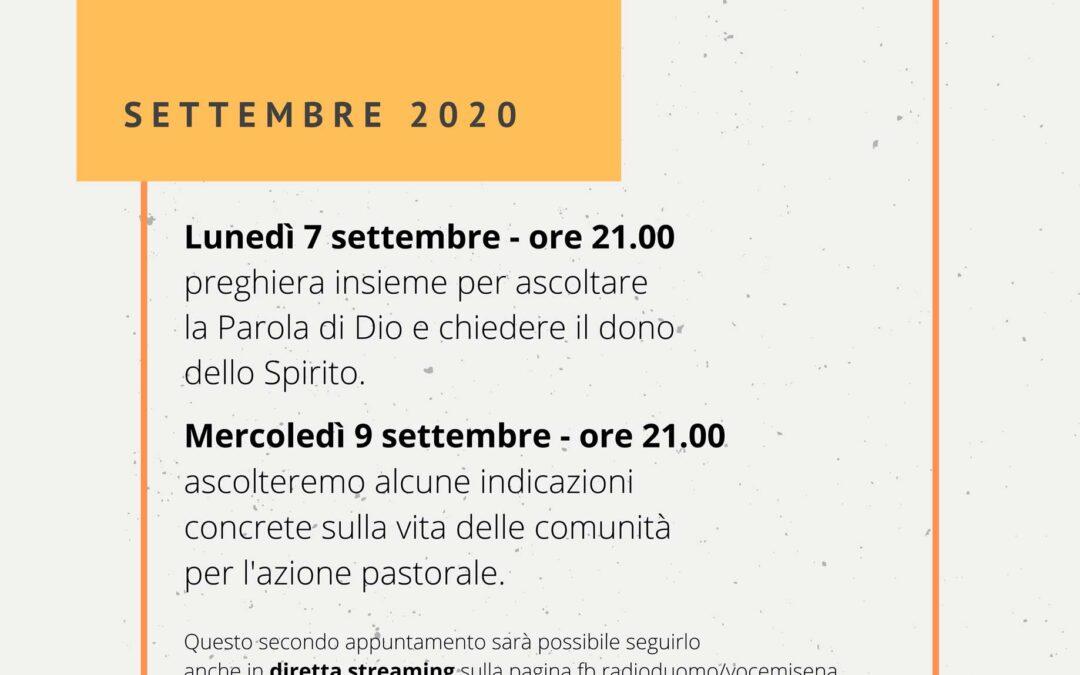 Convegno pastorale diocesano: 7 e 9 settembre 2020