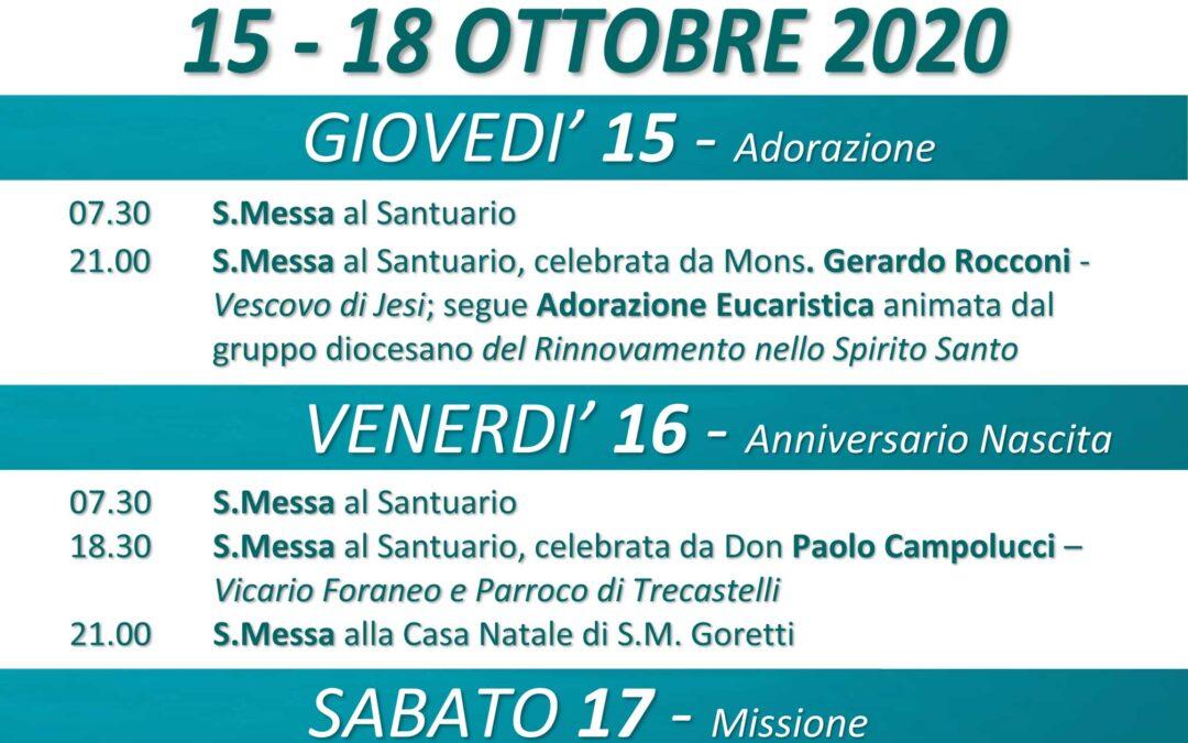 Festa di Santa Maria Goretti – 15-18 ottobre 2020